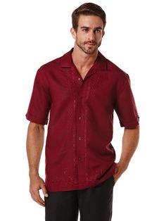Linen L-Shape Embroidery Camp Collar Shirt