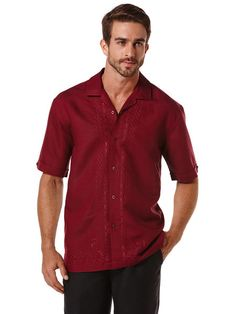 Short Sleeve L-Shape Embroidered Shirt www.Cubavera.com