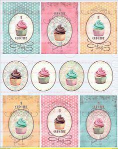 Bügelbilder - 10 Cupcake Muffin Bügelbilder Vintage NO.1015 - ein Designerstück von Doreens-Bastelstube bei DaWanda