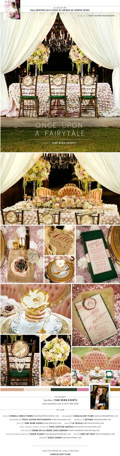 Tami Winn Events brought glitz and glam to the country with chic details surrounded by a rustic setting! Photos by Tracy Autem Photography. Video by Candlelight Films. #wedding #tabletop #editorial #country #fairytale #rustic #glam #green #pink #gold #vintage