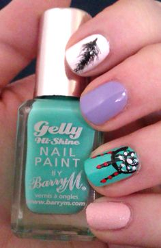 Dreamcatcher Nail Art #nailart #feathernails #texturednails #BarryM #pastelpolish