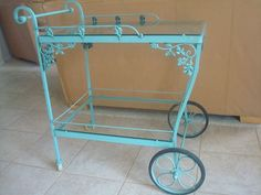 Bar Cart / Tea Cart Wrought Iron Orleans Pattern by Cyncycle, $275.00