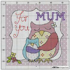 owl for you mum Cross Stitch Owl, Cross Stitch Cards, Cross Stitch Animals, Cross Stitch Designs, Cross Stitching, Cross Stitch Embroidery, Cross Stitch Patterns, Loom Patterns, Cross Stitch Collection