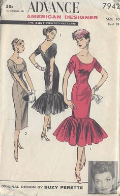 Rare to find NEW Advance Vintage Sewing Pattern Evening Cocktail Party Dress MERMAID Flounce by Designer Suzy Perette- . Vintage Dress Patterns, Vintage 1950s Dresses, Vestidos Vintage, Clothing Patterns, Vintage Outfits, Evening Dress Patterns, 1950s Fashion, Vintage Fashion, Mode Vintage