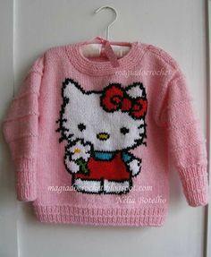 Magia do Crochet: Hello Kitty -blusa em tricot e almofada em feltro - Baby Boy Knitting Patterns, Baby Cardigan Knitting Pattern, Knitting For Kids, Knitting Designs, Knit Patterns, Baby Sweaters, Girls Sweaters, Magia Do Crochet, Hello Kitty Crochet