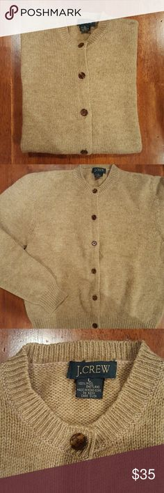 J. Crew Shetland wool cardigan Tan cardigan, crew neck, long sleeve with tortoise buttons. 100% Shetland wool. Excellent condition! J. Crew Sweaters
