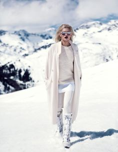 Stunning winter whites. Martina Dimitrova is retro glam in the snow for DV Mode by Fredrik Wannerstedt