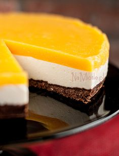 cheesecake with peach mousse Peach Mousse, Cheesecakes, Pudding, Baking, Dinner, Breakfast, Recipes, Polish, Food