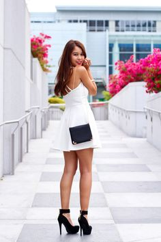Fiona Leahy of TealKitty.com looks adorable in head-to-toe Charlotte Russe! (White dress/Black shoes, check!)