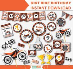 Trendy dirt bike birthday party ideas names 38 ideas Motocross Birthday Party, Motorcycle Birthday Parties, Dirt Bike Birthday, Motorcycle Party, Happy Birthday Banners, Birthday Decorations, Birthday Ideas, 5th Birthday, Party