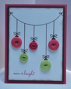 Button Ornament Card- For Don & Andy (: Button Ornaments, Christmas Buttons, Noel Christmas, Handmade Christmas, Button Christmas Cards, Christmas Ornaments, Simple Christmas, Button Cards, Holiday Pictures