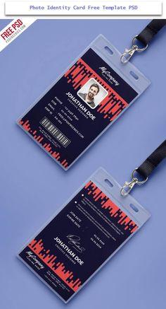 photo identity card free template Id Design, Badge Design, Id Card Template, Card Templates, Identity Card Design, Employee Id Card, Lanyard Designs, Company Id, Name Card Design