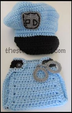 Newborn Police Hat & Diaper Cover Set Crochet by TheSteadyHand, pinning now to look for free pattern later