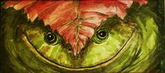 Watercolor frog under leaf