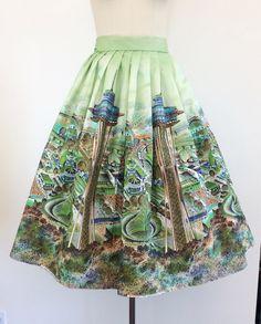 50s Green Seattle World's Fair Skirt / 1950s Vintage