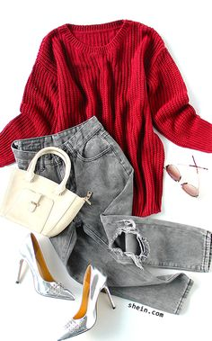 Fall style-Red batwing loose knit sweater outfit.
