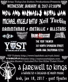 The 10th Annual Neil And Michaels Metal Jam 2017 joins forces with BashFest.us (Brian Tichy and Joe Sutton) who are also creators of Bonzo Bash, Randy Rhoads Remembered and A Farewell To Kings. The concert will take place Wednesday, January 18th at The Yost Theater in Santa Ana, California...