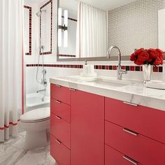Red Washstand, Contemporary, bathroom, Suzanne Lovell