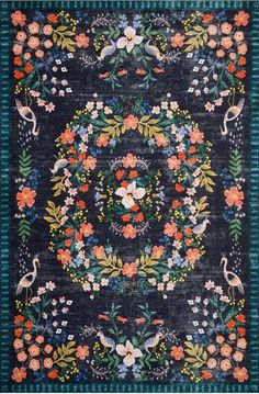 Rifle Paper Co Palais Black/Multi Area Rug — France Son Floral Area Rugs, Blue Area Rugs, Blue Rugs, Large Area Rugs, Living Room Carpet, Rugs In Living Room, Condo Living, Unique Rugs, Rifle Paper Co