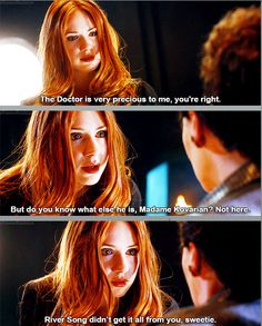 [GIFset] One of the most chilling moments in Doctor Who comes from the look on Amy Pond's face and the revenge in her voice as she openly defies any moral code she is expected to live by as the Doctor's associate and kills the woman who kidnapped and tortured her daughter.