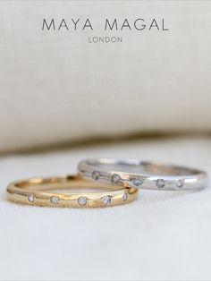 Simple Wedding Bands, Womens Wedding Bands, Wedding Ring Bands, Wedding Things, Dream Wedding, Diamond Bands, Gold Bands, Maya Magal, Solid Gold