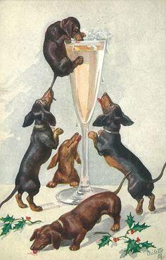 dachshund-parade-vintage:  Vintage Happy New Year Dachshunds postcard on pinterest.com