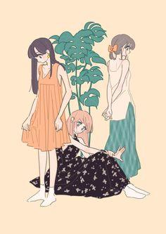 Friends Illustration, Kawaii Illustration, Cute Anime Character, Character Art, Character Design, Kawaii Art, Kawaii Anime, Anime Art Girl, Anime Guys