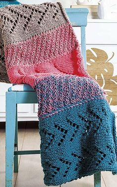 Knitting Pattern for Quick Summer Throw Afghan - One of the 4 patterns in Quick Throws to Knit ebook for $5.99 by Rena V. Stevens. Fast projects knit on big needles and two strands of medium weight yarn held together. #ad tba http://www.shareasale.com/r.cfm?u=1112880&b=146498&m=19565&afftrack=&urllink=www%2Eleisurearts%2Ecom%2Fcatalog%2Fproduct%2Fview%2Fid%2F10071%2F