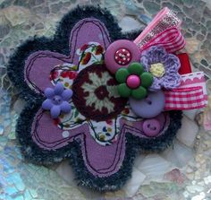 Fabric Scribble Flower Corsage :)