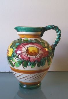 Vintage Made in Italy Incised Pottery Pitcher by EurotrashItaly on Etsy
