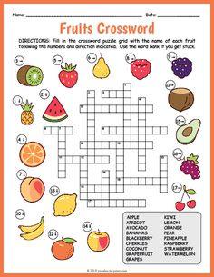 Printable Crossword Puzzles for Kids crossword puzzles free printable English Activities For Kids, Learning English For Kids, English Worksheets For Kids, English Lessons For Kids, Preschool Activities, English Class, Kids English, Word Puzzles For Kids, Puzzles Für Kinder