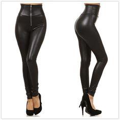 New Women's Leggings Punk High Waist Faux Leather Leggings Zipper Leggins Autumn Spring Black Fitness Women Pants S-XXL