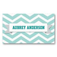 Chevron Teal Mint Turquoise Custom Flag Business Card
