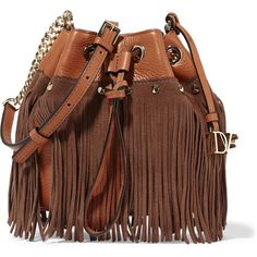 Diane von Furstenberg Vintage Boho Disco suede-fringed... (£225) ❤ liked on Polyvore featuring bags, handbags, purses, brown, boho purse, hand bags, bucket purse, suede fringe handbag and studded handbags