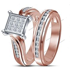 1.35Ct D/VVS1 Diamond In14k Rose Gold Finish Frame Style Women's Bridal Ring Set…