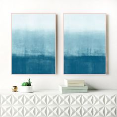 A set of two, ombre abstracts with beautiful blue and white tones, perfect for your relaxing home. #blueinterior #passion4interior…