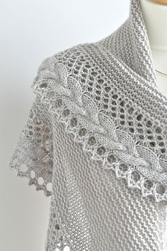 Shawl pattern: French Cancan by Mademoiselle C, knit in DK weight yarn. A free knitting pattern for a crescent shaped shawlette with a stunning lace and French braid border. Knit Or Crochet, Lace Knitting, Crochet Shawl, Knitting Stitches, Knitting Patterns, Crochet Braid, Knitted Shawls, Crochet Scarves, Shawl Patterns
