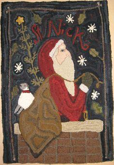 St.Nick hooked by Sue Clark , an  adaptation from Notforgotten Farm by Kris Miller of Spruce Ridge Studios