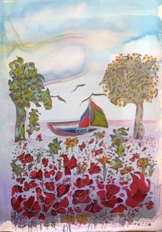 Fine summer day Silk painting by  Lucy Kanyan Loosso