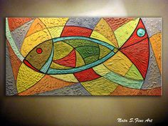 """Abstract Fish Painting.Original Painting.Textured Large Art Painting.Modern Wall Decor.Mixed Media 24""""x48"""" Home Office Decor... by Nata S"""