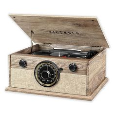 Victrola Brookline Bluetooth Record Player with Turntable, CD, Cassette Player and AM/FM Radio, Color: Farmhouse Oatmeal - JCPenney