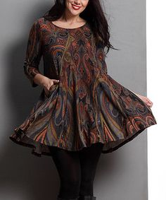 Another great find on #zulily! Brown Paisley Swing Tunic - Plus #zulilyfinds