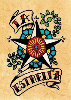 Old School Tattoo Star Art LA ESTRELLA Loteria Print 5 x 7 or 8 x 10