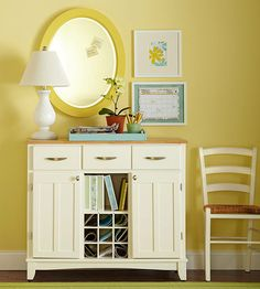 Entry Organizer - Turn a tired old buffet that's seen its last dinner party into an entryway organizer filled with purpose.