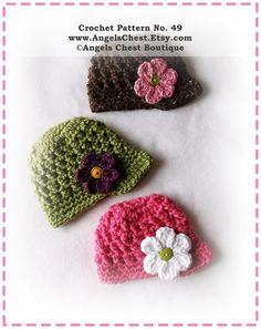 PDF Crochet Pattern Brimmed Newsboy Beanie Hat - Sizes Newborn to Adult - Boutique Design - No. 49 by AngelsChest