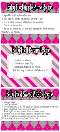Baby Food Recipe Cards: Apple Puree, Banana and Sweet Potato