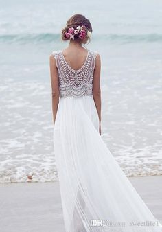 Romantic Anna Campbell Boho Beach Wedding Dresses 2016 Beading Illusion V Necklines Backless Bohemian Bridal Gowns Plus Size Cheap bhldn