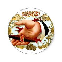 Retro Vintage Kitsch Cigar Box Art 'Smoke?' Round Sticker