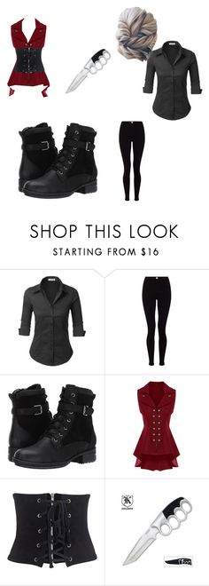 """BLACK WHITE AND RED ALL OVER"" by chibitesla on Polyvore featuring LE3NO, Lipsy, Blondo and WithChic"