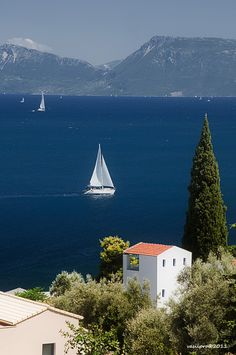 Sailing at Lefkada island, Greece